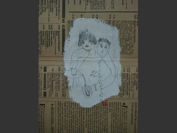 Kaoru Arima, Untitled, 1997, series of 50 drawing on newspaper.