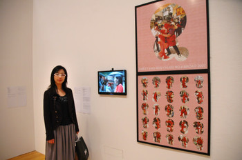 Ye Yili (Taiwan) and her work <i>Sweet and Rosy Hugs No. 4: Macao</i> at Documentaries of Chinese Performance Art 2008 exhibition.