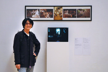 Cheng Shihchuan (Taiwan) and his work <i>The Drums Sound Too Remote</i> at Documentaries of Chinese Performance Art 2008 exhibition.