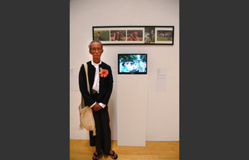Aung Myint (Myanmar) and his work <i>Blind, Deaf, Dumb</i> at Performance Art in Asia: Exhibition by Invitation 2008.