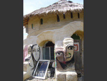 Exterior of one of adobe houses, build by Compeung's residency artists.