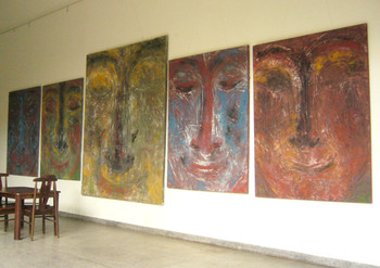 View of Prasong Luemueng's paintings in his house.