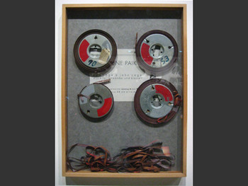 Nam June Paik, Audiotape Reels, Homage a John Cage-Music for Audiotape and Piano, 1958/62.