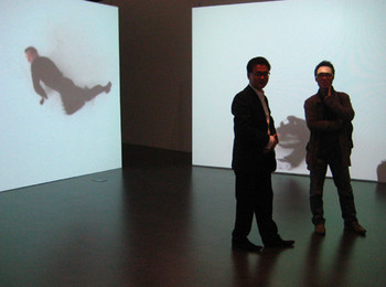 Curator Manu Park (left) and artist Haejun Jo (right).