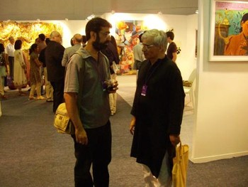 Artists Amar Kanwar (left) and Vivan Sundaram (right) in conversation