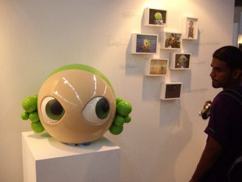 Princess Pea's works on display at the Rob Dean Art (London)