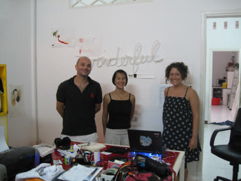 Bertrand Peret, Sandrine Lloquet and researcher Emilie Viaut in their studio