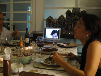 Artist Vu Kim Thu from Hanoi is skyped in for the dinner performance