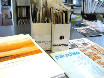 Checking out materials from Malaysia at the VWFA Resource Room.