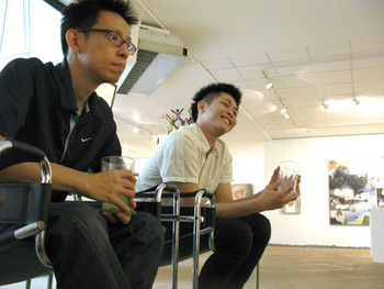 Jonathan Ching, artist from the Philppines, and Simon Soon (right), curator and writer
