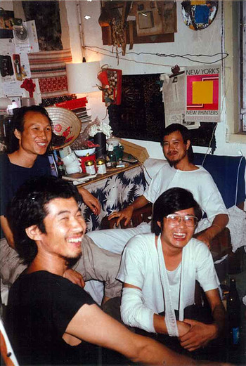 Mao Xuhui (back left), Ye Yongqing (back right), Pan Dehai (front left), and Lu Peng (front right) at No.2 Heping Village, Kunming