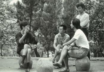 (From left) Lu Peng, Shu Qun, Ren Jian, Teacher from Wuhan University