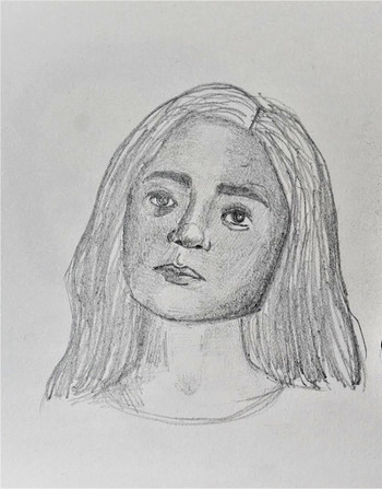 Image: A self-portrait created by a student, Sandra Dileep. Courtesy of Murlosky.