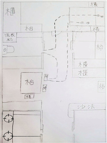 Image: A student drew a floor plan to show his daily routine at home. Courtesy of Peggy Kwan.