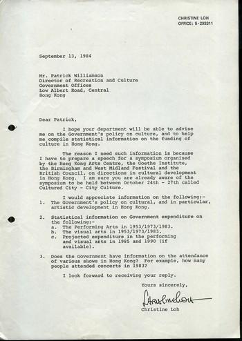 Letter from Loh Kungwai Christine to Patrick Williamson, 13 September 1984