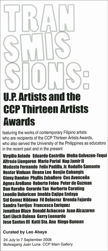Transmissions: U.P. Artists and the CCP Thirteen Artists Awards