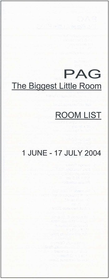 The Biggest Little Room: Room List