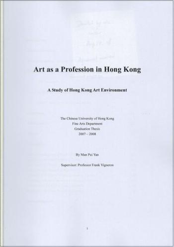 Art as a Profession in Hong Kong: A Study of Hong Kong Art Environment