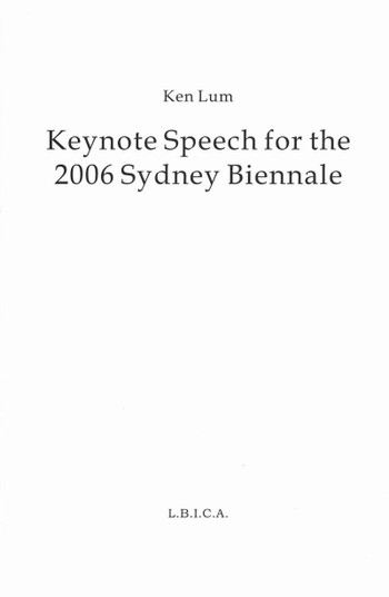 Keynote Speech for the 2006 Sydney Biennale