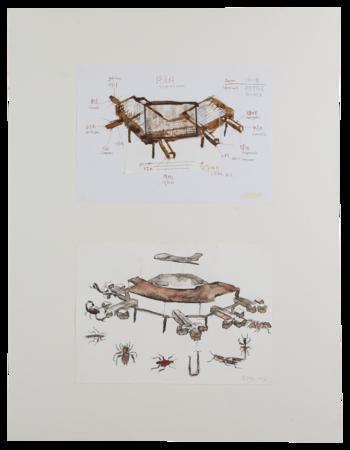 黃永砯,《Sketch for Terminal, 1996,KunstlerhausBethanien, Berlin》,1996年 。由藝術家的遺產管理人提供。