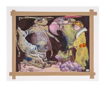 1964–1971 <br />塑膠彩、畫布 <br />45 x 59 cm <br />單一件 由 Red Rock Studio 捐贈。 <br />陳福善的藝術生涯橫跨二十世紀,是香港現代藝術的先駒,並 被藝術歷史學者姜苦樂譽為天才。由 Red Rock collection 捐贈, 〈無題〉是陳氏在 1964 至 1971 年間的作品,正值其畫風的轉 變—由寫實的水彩風景畫蛻變為明亮而魔幻的作品。奇異的魚 和鳥是陳氏後期的作品中的標誌,而此畫作中的鸚鵡可算是雛 型。陳福善下筆時隨意塗抹顏料於畫布上,以此為創作的開端, 誘發出豐富的精神世界。