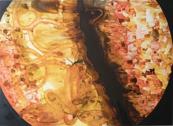 2018 <br />塑膠彩、畫布 <br />126 x 176 cm <br />單一件 由藝術家及 ROH Projects 捐贈。<br /> 新晉印尼藝術家 Syaiful Aulia Garibaldi 對菌類特別著迷—它們雖 然讓人聯想到腐蝕,同時也是新生命及自然循環中必要的元 3 素。在作品〈Porculen Lirza〉中,Garibaldi 以複雜及如馬賽克般 的構造,比喻菌類及微生物的生態系統。當中的結構及語言與 人類平衡,揭示出一個平靜而強大的網絡。