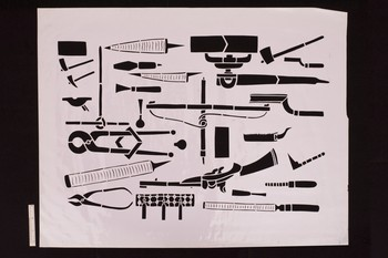 Image: <i>Stencils: Structures, Tools and Weapons 1</i>. Nilima Sheikh Archive, Asia Art Archive Collections. Courtesy of Nilima Sheikh.