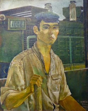 Image: Nguyên Khai, <i>Railway Worker</i>, 1978, oil on canvas.