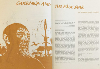 "Image: Spread of ""Guernica and the Blue Star,"" a short story from the periodical <i>Lotus</i>, April 1970."