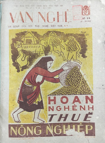 Image: Cover of <i>Văn Nghệ</i>, issue 34, 15 December 1951, with illustration by Bùi Xuân Phái. Collection of National Library of Vietnam, Hanoi.