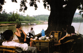 Image: First meeting of <i>Keepers of the Waters</i>, with Zhu Xiaofeng and Kristin Caskey, Chengdu, 1995. Betsy Damon Archive, Asia Art Archive Collection. Courtesy of Betsy Damon.