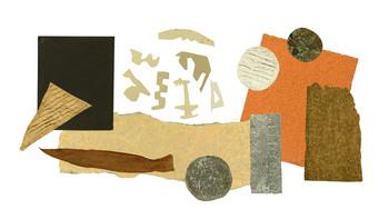 圖片:夏碧泉收藏的創作材料,包括:乾樹葉、不同形狀的動物及人形卡紙,色紙,瓦通紙和錫紙。由夏碧泉家人及亞洲藝術文獻庫提供。