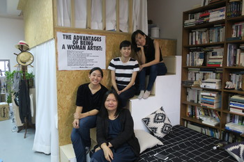 Image: (<i>from left</i>) Ho Sin Tung,  Phoebe Wong, Ko Sin Tung, and Elva Lai at Ho Sin Tung's studio. Courtesy of Peter Bird.