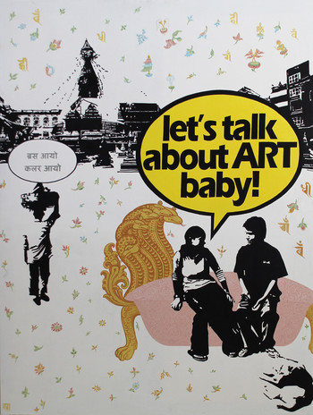 Image: Sujan Chitrakar, 'Let's talk about ART, baby!', acrylic on canvas, 2011. Courtesy of the artist.