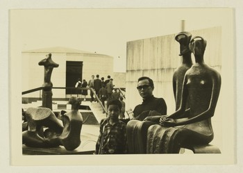 Image: Ha Bik-chuen and his son at Henry Moore sculptures exhibition, Hong Kong City Hall, 1970.