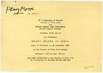 Image: Invitation card to 'Henry Moore in India', Baroda, India, 1987.