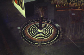 Image: Installation by Baguio-based artist Roberto Villanueva using coco lumber, stones, soil, lime, and wild grass at the Bacolod City Civic Center, <i>VIVA EXCON 2</i>, 1992.