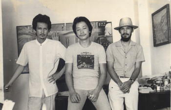 "Image: (<i>left to right</i>) Black Artists in Asia core members Nunelucio ""Nune"" Alvarado, Charlie Co, Norberto ""Peewee"" Roldan. Taken at Alvarado's studio in Bacolod circa 1983."