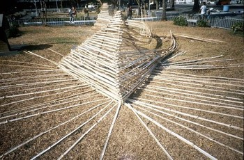 Image: Akatsuki Harada, bamboo installation at Bacolod City Public Plaza, <i>VIVA EXCON</i> 2, 1992.