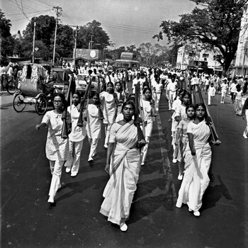 Image: Arms drills by female members of the Chatro Union (students' union) in preparation for the liberation war, Dhaka, Bangladesh, 1 March 1971. Photo: Rashid Talukder (1939–2011), who documented the liberation war and witnessed every major event in Bangladesh's turbulent history. Courtesy of Drik Picture Library.