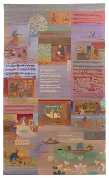 Nilima Sheikh, <i>Hunarmand</i>, 2014. 'Each night put Kashmir in your dreams' series. Scroll painted on both sides, 305 x 183cm, casein tempera on canvas.
