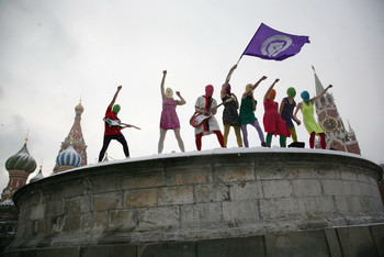 Image: Pussy Riot, the performance of 'Putin Zassals' at Red Square, 2012.