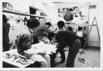 Image: Copying Sakubei Yamamoto's coal mining paintings in Mokuma Kikuhata's class at Bigakkō, 1970. Photographer unknown.