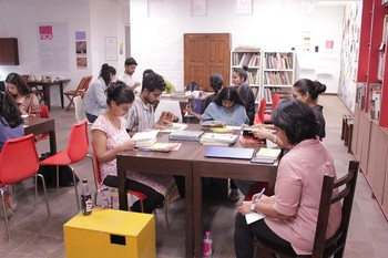 Image: <i>Sourcebook</i>, workshop conducted by Krishnapriya CP at FICA Reading Room, October 2019. Photo: Annalisa Mansukhani.