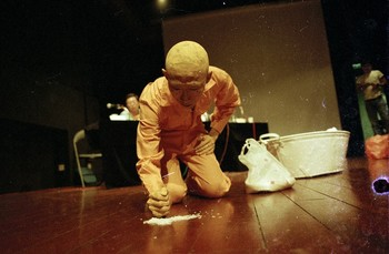 Image: Lee Wen, <i>Journey of a Yellow Man No. 11: Multiculturalism</i>, 1997. Lee Wen Archive. Courtesy of Lee Wen Estate; courtesy of Asia Art Archive, NTU Centre for Contemporary Art Singapore, and National Gallery Singapore.