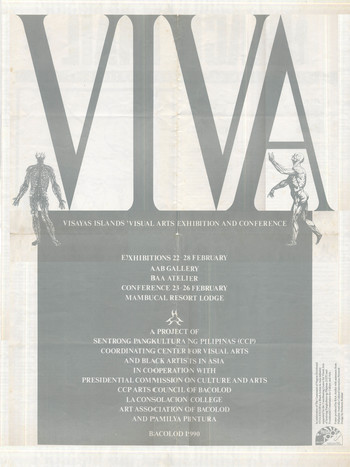 Image: VIVA EXCON 1990 poster designed by Norberto Roldan. Printed on the reverse side of Black Mail #3, the official newsletter of Black Artists in Asia, this issue announces the first edition of the biennial festival.