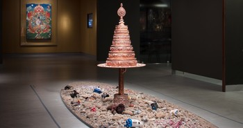 Image: Tsherin Sherpa, <i>Wish-fulfilling Tree</i>, 2016, bronze cast mandala, found objects, rubble. Courtesy of the artist and The Rubin Museum of Art.