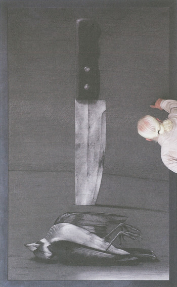 Image: Nassouh Zaghlouleh, Youssef Abdelke and his painting, <i>The Knife and the Bird</i>, 2012.