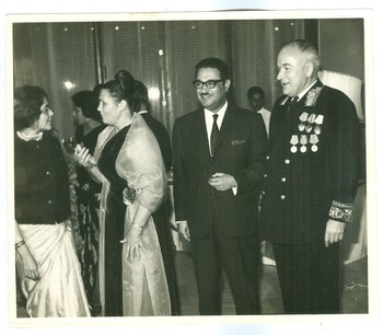 Zubeida Agha and Visitors at an Event