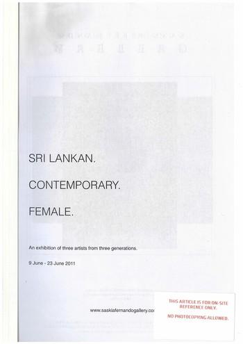Sri Lankan. Contemporary. Female.